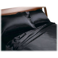 Full size Soft Polyester Satin Sheet Set in Solid Black DHRFS3518