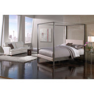 King size Modern Metal Platform Canopy Bed Frame with Upholstered Headboard and Footboard MNVCZ73619