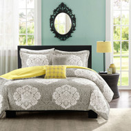 King size 5-Piece Floral Damask Comforter Set in Teal Blue White and Green Colors KCOMDAEC87765184