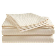 Full size Dobby Stripe Sateen Sheet Set in Beige Microfiber FBCSD1699