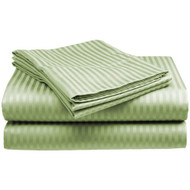 Full size Microfiber Sateen Dobby Stripe Sheet Set in Sage Green FfSCSD251