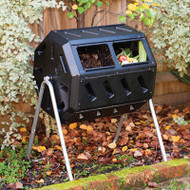 Rotating 37-Gallon 2-Chamber Tumbling Compost Bin Tumbler with Stand FCYB9573641