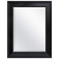Black 27.5 x 21.5 inch Beveled Bathroom Mirror with Wall Hangers BWMFE7839612