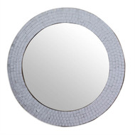 Modern Round Circular Bathroom Wall Mirror with Mosaic Glass Silver Frame NGMWV1982158
