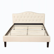 Queen size Ivory Linen Upholstered Platform Bed with Button-Tufted Headboard CDLFB98741581