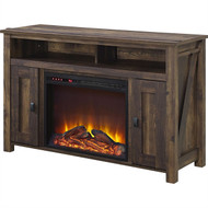 50-inch TV Stand in Medium Brown Wood with 1,500 Watt Electric Fireplace ELFPCTVS745891
