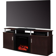 Modern Electric Fireplace TV Stand in Cherry Black Wood Finish - Holds up to 70-inch TV MELFBECD77454891