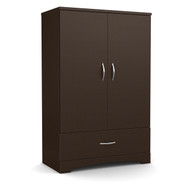 Contemporary 2-Door Armoire Wardrobe Cabinet w/Bottom Drawer in Chocolate Brown CBASW6518741