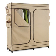 Khaki Double Door Wardrobe Portable Clothes Closet with Shoe Storage HCS60K351