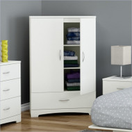 White Clothes Storage Wardrobe Cabinet Armoire with Bottom Drawer SWA20595