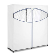 60-inch Wide Zippered Clothes Closet Wardrobe in White WPCW38991