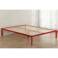 Queen size 14-inch High Modern Platform Bed with Red Metal Frame and Wood Slats QUBFRE9746321