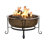 Hammered Copper Fire Pit with Heavy Duty Spark Guard Cover and Stand WQWUU90300