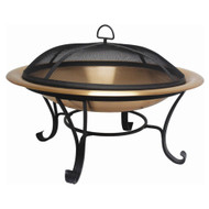 Large 35-inch Copper Bowl Fire Pit with Steel Stand and Cover VCRFPC5488621
