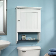 Bathroom Wall Cabinet in White Wood Finish with Bottom Storage Display Shelf SWC586181