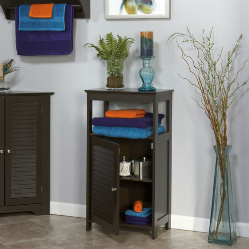 Modern Bathroom Floor Cabinet Free Standing Storage Unit in Espresso Wood Finish EBFC89151