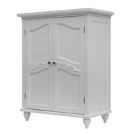 Bathroom Linen Storage Floor Cabinet w/2-Doors in Traditional White Wood Finish BFCBW418156