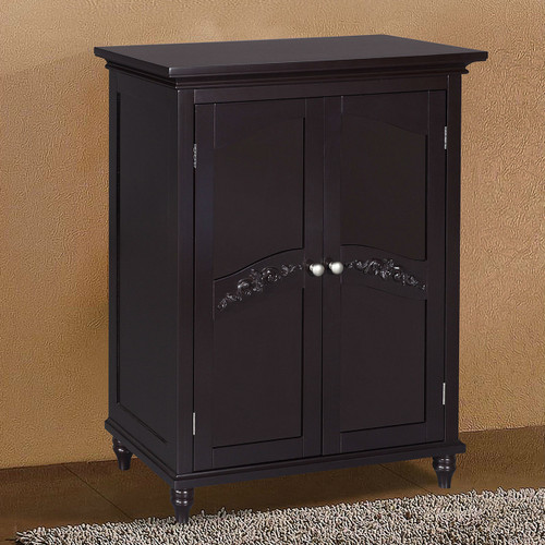 Dark Espresso Wood Bathroom Floor Cabinet w/Traditional Crafted Engraving Doors EFSC51981