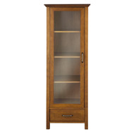 Oak Finish Linen Tower Glass Door Bathroom Storage Cabinet w/ Drawer ALCDB1297