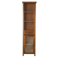 Oak Finish Bathroom Linen Tower Storage Cabinet with Shelves EAKC12941