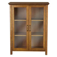Oak Finish Bathroom Floor Cabinet with 2 Glass Doors & Storage Shelves EFAC128761