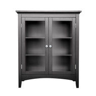 Dark Espresso Freestanding Bathroom Floor Cabinet with Storage Shelves EMC108915