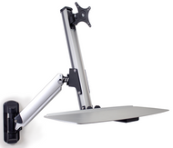 Ergonomic Single Monitor Sit/Stand Lift Arm with Keyboard Tray, Wall Mount DS-ERGO-100WM-3