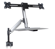 Ergonomic Dual Monitor Sit/Stand Lift Arm with Keyboard Tray, Desk Mount DS-ERGO-200