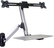Ergonomic Dual Monitor Sit/Stand Lift Arm with Keyboard Tray, Wall Mount DS-ERGO-200WM