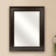 Beveled Rectangular Bathroom Vanity Mirror with Bronze Finish Frame BMB864137