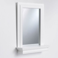 Framed Bathroom Mirror Rectangular Shape with Bottom Shelf in White Wood Finish SMEH551489151