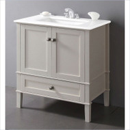 Contemporary Bathroom Vanity in Soft White with Marble Top and Rectangle Sink SWBV69951