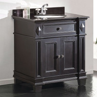 Single Sink Bathroom Vanity with Cabinet & Black Granite Countertop / Backsplash ODE65915