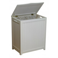 White Solid Wood Rectangular Laundry Hamper ORLH65441