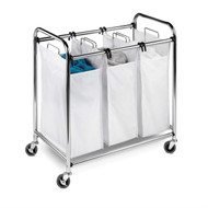 Heavy Duty Commercial Grade Laundry Sorter Hamper Cart in White Chrome HCDLS4249