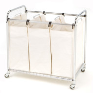 Commercial-Grade Steel Frame 3-Bag Laundry Hamper Cart SCLH46681