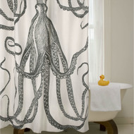 Black and White Octopus Shower Curtain 100% Cotton 72 x 72-inch BCOSC5198152