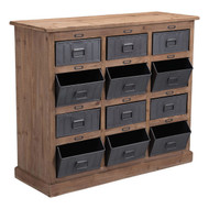 Haricot Cabinet Natural Pine & Industrial Gray -100419-1