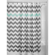 Grey Aqua Blue White Chevron Polyester Fabric 72-inch Shower Curtain GBCA5198412