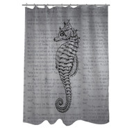 Woven Polyester Bathroom Shower Curtain with Gray Seahorse VSC51984151