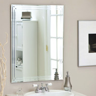Rectangular 31.5-inch Bathroom Vanity Wall Mirror w/Contemp Triple-Bevel Design TWM519841-4