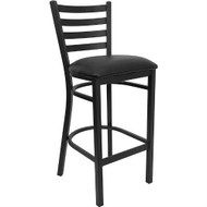 Black Metal Ladder-Back Restaurant Style Bar Stool FBSV574516