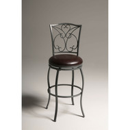 Grey Metal 30-inch Barstool with Brown Faux Leather Swivel Seat CBSL89152