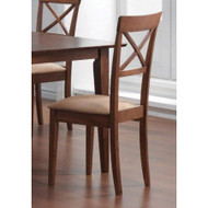 Set of 2 - Walnut Finish Cross Back Dining Chairs with Fabric Seat MWDCSOT99