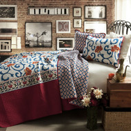 King size 3-Piece Cotton Quilt Set in Red White Blue Floral Scroll Pattern KCQS5819815