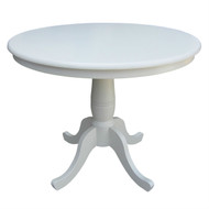 Round 30-inch Dining Table In White Wood Finish and Pedestal Base RWDT519851518