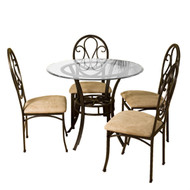 Dark Chocolate Metal Dining Table with Clear Round Glass Tabletop LDT519681