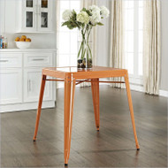 Mid Century French Cafe Style Metal Dining Table in Orange MCDG8518981