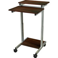 24-inch Steel Frame Standing Computer Desk on Wheels in Dark Walnut- DWMDS819681