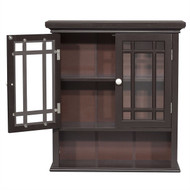 Dark Espresso 2-Door Bathroom Wall Cabinet with Open Shelf- EFNWCSD598481